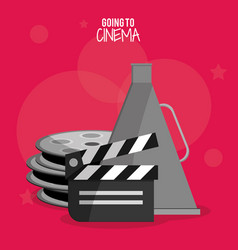 cinema film clapper reel symbol vector image