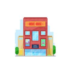 cinema urban building movie theater facade icon vector image