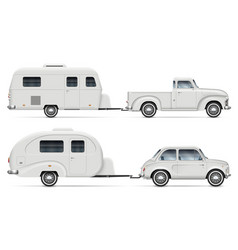 Classic cars with rv camping trailers side view vector