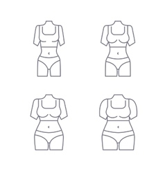 Collection of female body types Set of thick and vector image