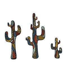 Colored doodle cactus vector