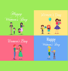 concept of happy womens day on four postcards vector image
