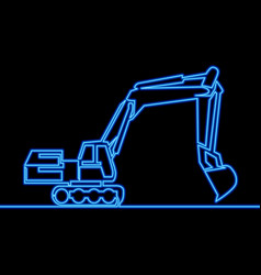 continuous one line drawing backhoe excavator neon vector image