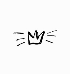 Crown shirt print hand drawn vector