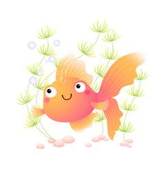 Cute cartoon goldfish in an aquarium vector
