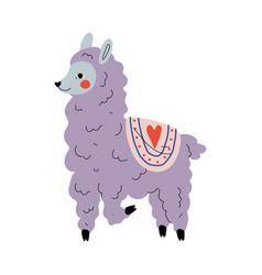 cute llama adorable lilac alpaca animal character vector image