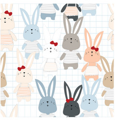 cute rabbit boy and girl seamless pattern vector image