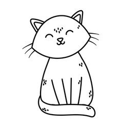 cute white cat sitting pet icon thick line vector image