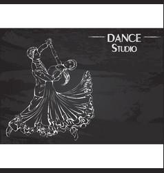 Dance line chalk ballroom dancing classic vector