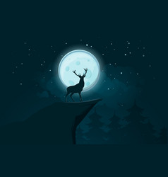 deer silhouette on the full moon background vector image
