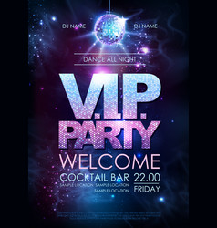 Disco ball background disco vip party poster vector