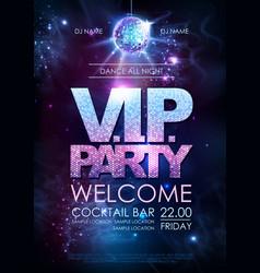 disco ball background disco vip party poster vector image