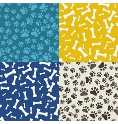 Dog Paw and bone anilams pattern vector