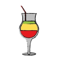 Drawing summer cocktail glass alcohol multicolor vector