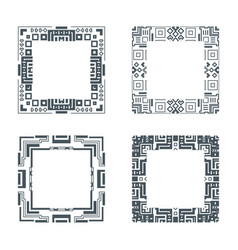 Ethnic design decorative geometric frames set vector