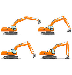 excavator with different boom position detailed vector image