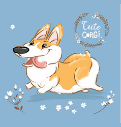 Excited corgi dog run tongue out poster vector