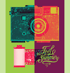 feel summer typographic retro grunge poster vector image