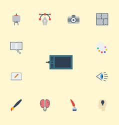 Flat icons brush photo idea and other vector