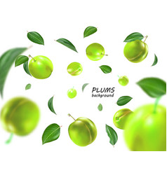 flying green plums background realistic quality vector image