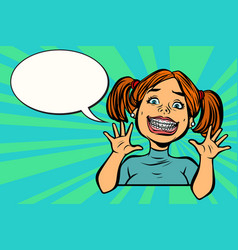Funny girl with braces vector
