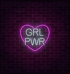 Girls power sign in neon style glowing symbol of vector