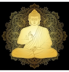 Gold Bubbha Sitting in Lotus position vector image