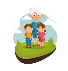 Grandma and grandchildren design vector