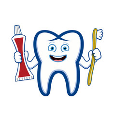 happy smiling tooth holding toothbrush and vector image