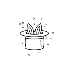 Hat-trick line icon magic tricks with hat and vector