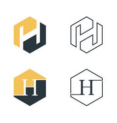 hexagon h vector image
