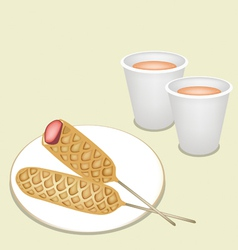 Hot Coffee in Disposable Cup with Corn Dog vector image