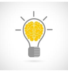 Human brain in lightbulb flat vector image vector image