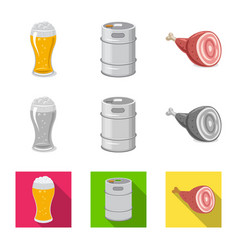 Isolated object of pub and bar sign collection of vector