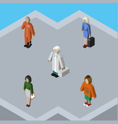 isometric person set of pedagogue cleaner lady vector image
