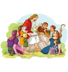 Jesus preaching to group of people children vector