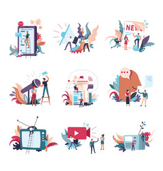 Journalism mass media news people icons vector