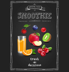 Juice and smoothie restaurant menu fresh drink vector
