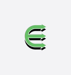 letter e green icon with arrows symbol vector image
