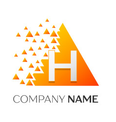 letter h logo symbol on colorful triangle vector image