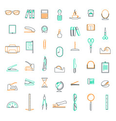 line icons set in flat design office and business vector image