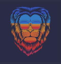 lion head eyeglasses retro vector image