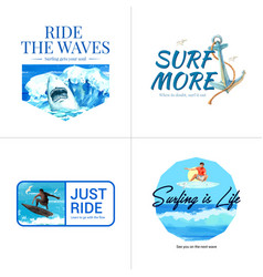 Logo with surfboards at beach design for brochure vector