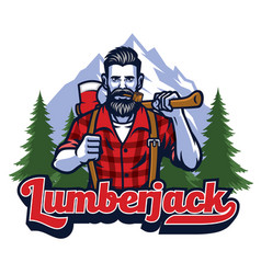 Lumberjack with pipe and holding the big axe vector
