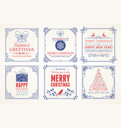 merry christmas and happy holidays cards vector image