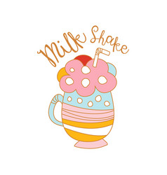 Milk shake logo template label for restaurant vector