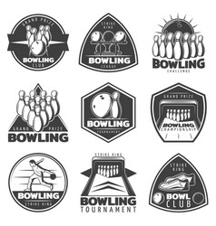 Monochrome bowling labels set vector