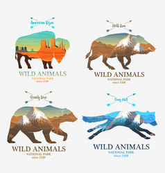 Mountains and boar bear fox buffalo silhouette vector