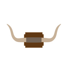 Mounted wall horn travel icon big bull herbivore vector