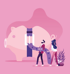 piggy bank with tight belt business financial vector image